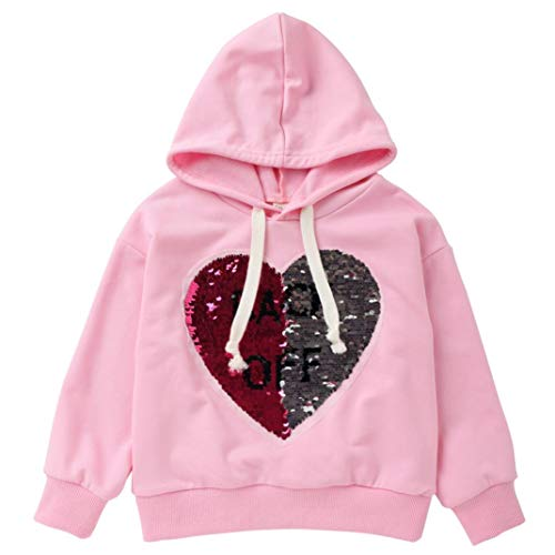 (Boys Girls Sweatshirt,Toddler Baby Cotton Hooded Tops Pullover Heart Letter Sequin Hoodie Blouse Outfits1-6 Years (Pink, 2T))
