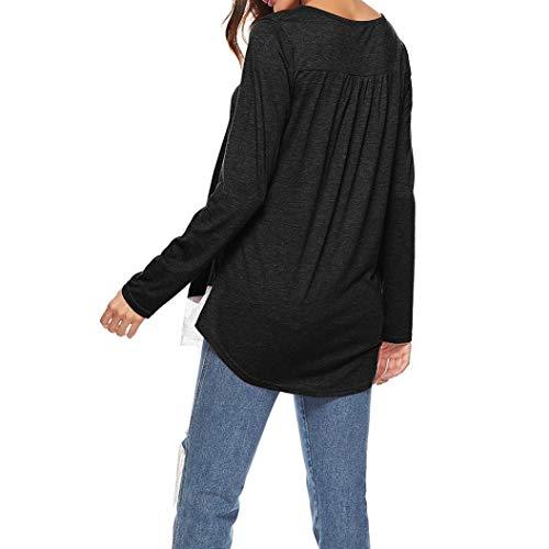 Couleur Noir Shirt Tee Chic Femme Unie Manche Ourlet SANFAHSION Dentelle Tops Patchwork Blouse Longue qvOx5nW