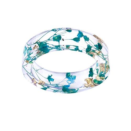 VEINTI+1 New Arrival Creative Handmade Sky Blue Babysbreath Dried Flowers Women/Men's Trendy Rings -