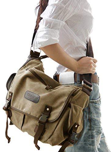 Digital baby Big Vintage Canvas Messenger Bag Book Laptop Shoulder School Ladys Women Men New (Large, Beige)