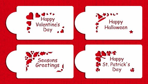 Designer Stencils C310 Holiday Corners Cookie Stencils, (Happy Valentine's Day, Happy Halloween, Happy St Patrick' Day, Seasons Greetings), Beige/semi-transparent