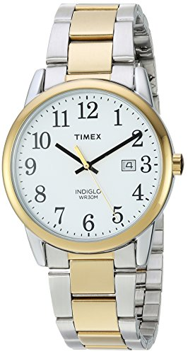 (Timex Men's TW2R23500 Easy Reader Two-Tone/White Stainless Steel Bracelet Watch)