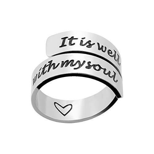 omodofo Inspirational Motivational Ring Adjustable Personalized Stainless Steel Spiral Wrap Twist Ring Encouragement Personalized Jewelry Birthday Gifts for Girls (It is Well with My Soul) -