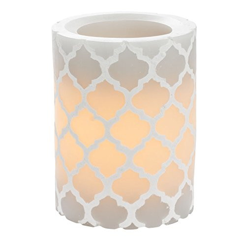 (Sterno Home CGT11848GY Carved Quatrefoil Pillar with 5-Hour Timer, 3 4-Inch,)