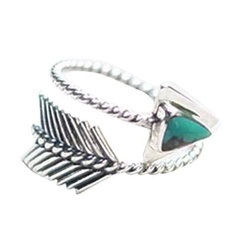 bjduck99 Women Vintage Adjustable Triangle Faux Turquoise Arrow Open Ring Finger Jewelry