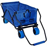 Impact Canopy Folding Utility Wagon, Collapsible All-Terrain Beach Wagon, Extra Large, Royal Blue
