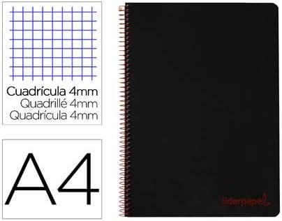 Cuaderno espiral liderpapel A4 wonder tapa plastico 80h 90gr cuadro 4mm con margen color negro. (5 Unidades): Amazon.es: Oficina y papelería