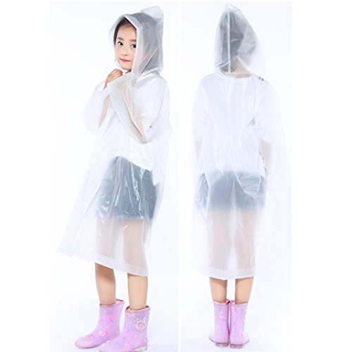 Tpingfe Portable Reusable Raincoats Children Rain Ponchos For 6-12 Years Old, 1PC (Clear) by Tpingfe (Image #1)