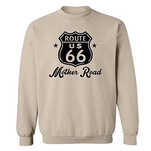 Route 66 Mother Road Crewneck Sweatshirt in Sand - XXXXX-Large