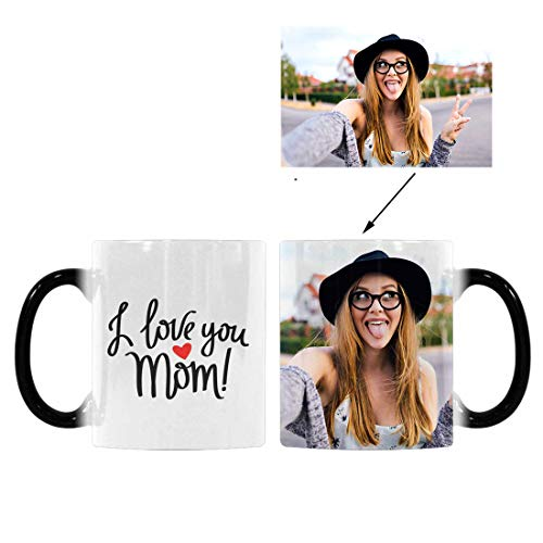 Custom Picture Heat Sensitive Color Changing Coffee Mug, I Love You Mom Red Heart 11oz Morphing Tea Cup for Mom Mother Birthday