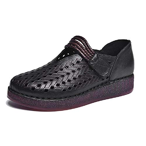 Cuero Color EU de Negro Ahuecan tamaño Zapatos Qiusa Hook los Mujeres Loop Jane 37 Vino Rojo Vintage Las Mary Suave xFOqTHTYwB