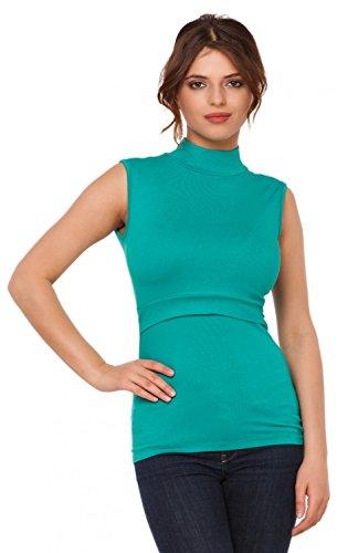 Happy Mama. Mujer top camiseta premamá y lactancia cuello alto doble capa. 986p Verde Azulado