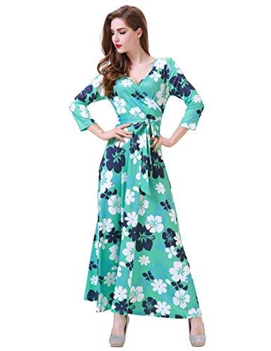 Aphratti Women's Casual Fall Dress 3/4 Sleeve Faux Wrap Long Maxi Dress XL Mint