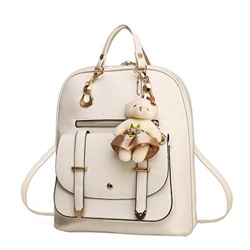 Women Handbag, Hunzed Girl School Leather Shoulder Bag Backpack Women Crossbody Bag Travel Rucksack Purse (Beige) by Hunzed (Image #1)