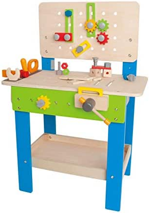 Master Workbench by Hape   Award Winning Kid's Wooden Tool Bench Toy Pretend Play Creative Building Set, Height Adjustable 35Piece Workshop for Toddlers