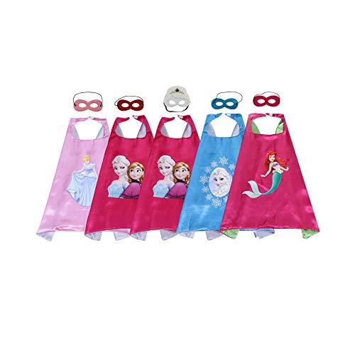 YHUA Girls Super Hero Cape Cartoon Fairy Tales Mask Dress Up Costume 5Sets -