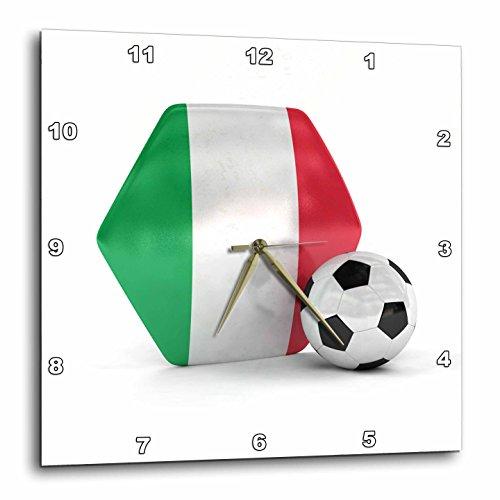 3dRose dpp_181907_1 Italy Soccer Ball-Wall Clock, 10 by 10-Inch by 3dRose