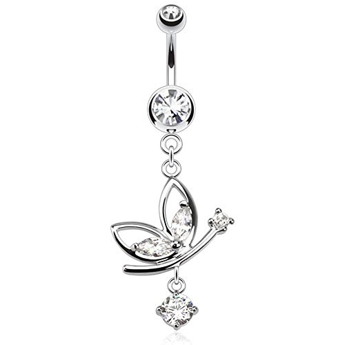 - Butterfly Navel Ring with Round CZ Dangle