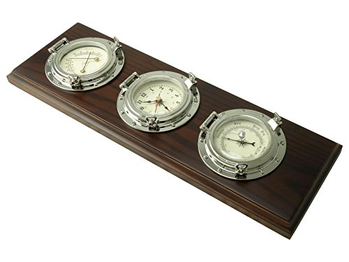 Nautical Porthole Wall Weather Station Instruments includes a Quartz clock, Barometer, Thermometer, and a Hygrometer - Chrome - Five Oceans BC-3980