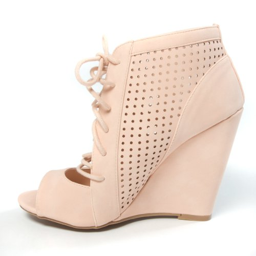 Wild Diva Womens ELISHA11 Open Peep Toe Cut Out Perforated Lace Up High Heel Wedge Sandal Shoes, Nude Beige Synthetic Nubuck Leather, 7.5 B (M) US