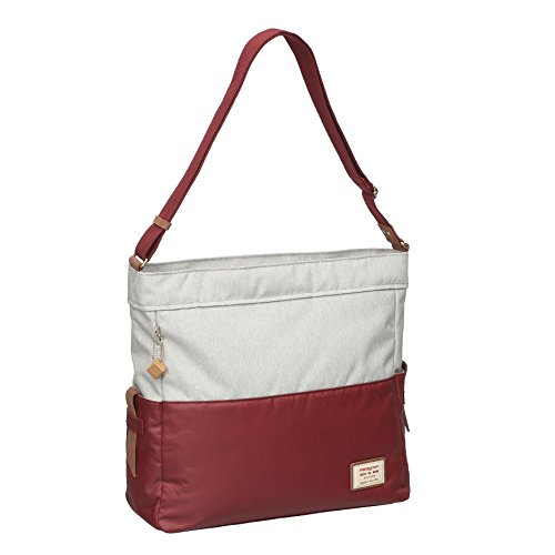 Hedgren Yew Large Shoulder Bag, 15.6 Inch Laptop Pocket, Leather Accents, 14.6 x 5.7 x 14.2 Inches, Womens, Rhubarb/Off-White by Hedgren
