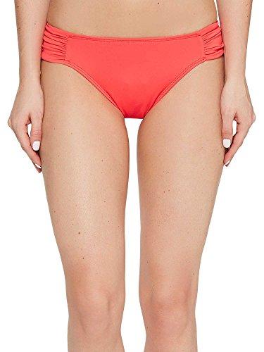 LAUREN Ralph Lauren Women's Beach Club Solids Shirred Side Tab Hipster Bottom Neon Coral Swimsuit ()