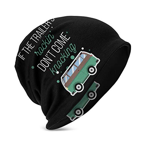 If The Trailer's Rockin' Don't Come Knocking Knit Hat Warm Soft Comfortable Warm Winter Beanie Print Cap for Kids Black