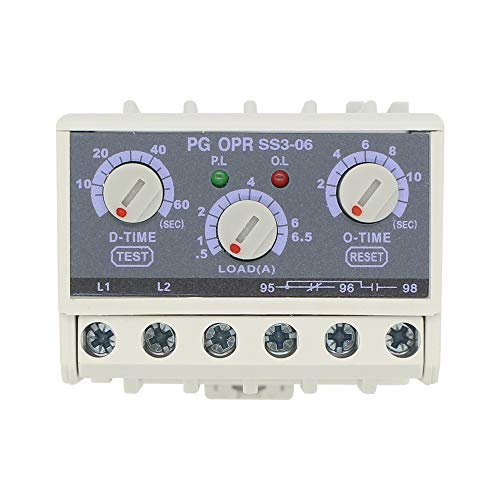 PG OPR SS3-06 5-30A lectronic Overload Relay Phase Loss Protection Relay independently Adjustable Starting Trip delay ()