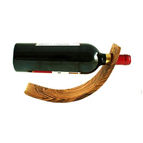 EQT-TEC Design Weinflaschenhalter aus hochwertigem Olivenholz Echtholz Flasche Ständer Halter