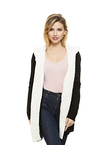 No Comment Women Hooded Cardigan Sweater With Sherpa Lining, Junior & Plus (Lined Cardigan Sweater)