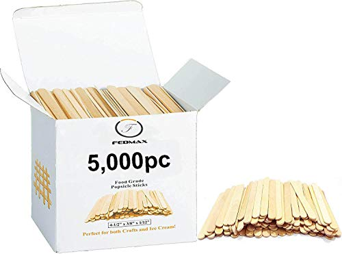 Popsicle Sticks, (5,000pc), 4-1/2 Length, Food Grade Wooden Ice Cream Sticks, Great Bulk Sticks for Crafts, by Fedmax. (5,000pc)