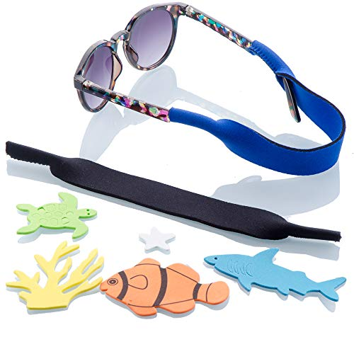 Child Color Frame Daddy (Baby Glasses and Sunglasses Strap 2pk | Active Kids with Bonus Stickers (Blue + Black))
