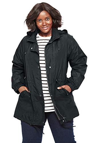 Woman Within Women's Plus Size Fleece-Lined Taslon Anorak - Black Short Strokes, L