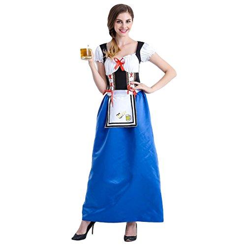8cdf5733cd7c78 Oktoberfest Dirndl Blau Kleid 3tlg trachtenkleid Homedecoam fancy ...