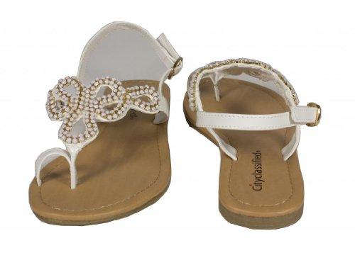 Stad Geclassificeerde Womens Nelda Ketting String Platte Sandalen In Wit Patent