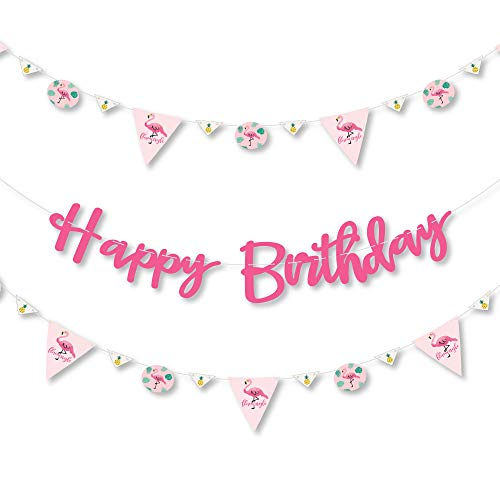 Big Dot of Happiness Pink Flamingo - Party Like a Pineapple - Birthday Party Letter Banner Decoration - 36 Banner Cutouts and Happy Birthday Banner Letters - Cut Out Flamingo