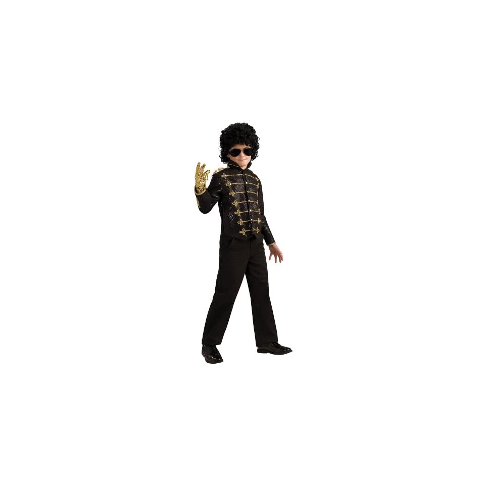 Lets Party By Rubies Costumes Michael Jackson Deluxe Black Military Jacket Child / Black   Size Medium (8 10)