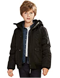 SOLOCOTE Boy Real Down Hooded Bomber Jacket Water and Wind Proof Winter Coat