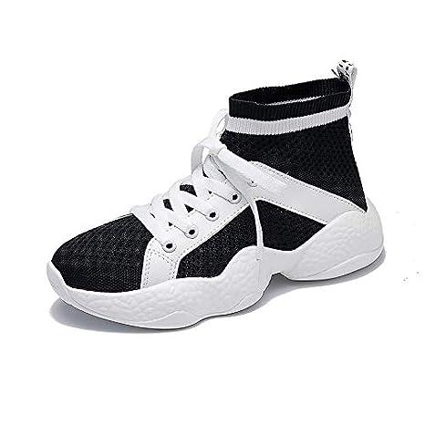 ZHZNVX Zapatos de Mujer de Microfibra de Primavera y Verano Comfort Sneakers Running Shoes Heel de Punta Redonda Hebilla Blanca/Negra: Amazon.es: Deportes y ...