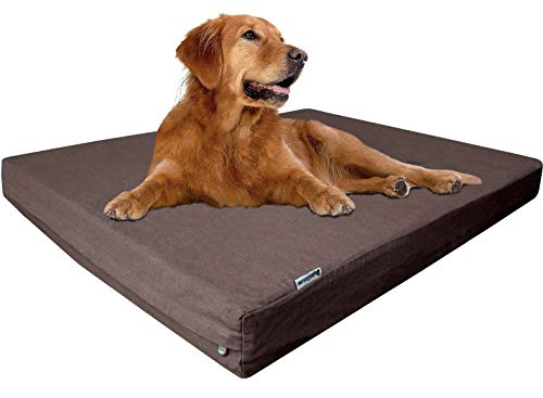 "dogbed4less Extra Large Orthopedic Memory Foam Dog Bed for Large Dogs, Durable Denim Cover, Waterproof Liner and Extra Pet Bed Case, Fit 48""X30"" Crate, Brown"