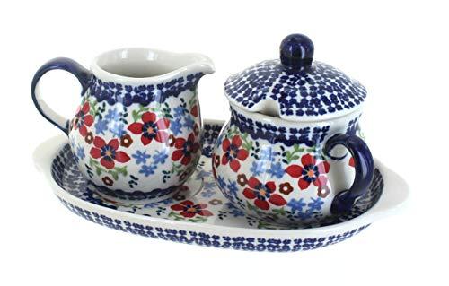 Blue Rose Polish Pottery Red Poppy Sugar & Creamer with Tray