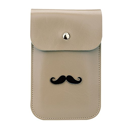 Cute Mustache Design Flip Cover Purse Two Layers PU Leather Mini Crossbody Shoulder Pouch Travel Cellphone Bag for Apple iPhone 6/6S,6/6S Plus,5S/5C,Samsung Galaxy S6,S6 Edge+,S6 Edge/Note5/4(Khaki)