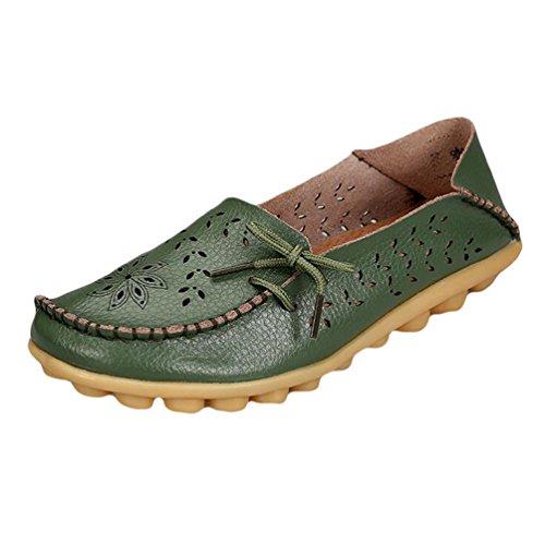 Heheja Mujer Hueco Ocio Piso Zapatos Mocasines de Cuero Loafers con Bowknot Ejercito Verde