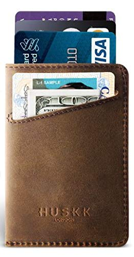 Men Wallet - RFID Minimalist Slim Front Pocket Card Travel Holder Clip (One Size, Dark Brown Crazy Horse Leather [CSC-DBCH-RFID]) (Best Mens Wallet For Lots Of Cards)