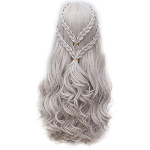 Probeauty 2017 New Long Braid Curly Women Cosplay Wigs for Daenerys Targaryen khaleesi+Wig Cap (Silver Curly Braid B)]()