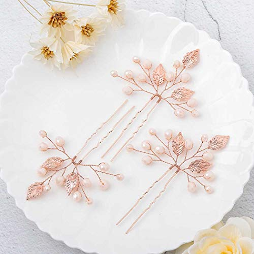 Yalice Bride Wedding Leaf Hair Pins Rose Gold Beaded Bridal Hair Piece Accessories Headpieces for Women and Girls(Set of 3) - Gold Leaf Pin