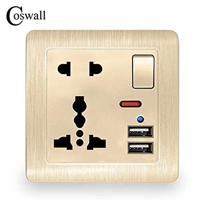 Type: White, Rated Voltage: 110-250V Wall Power Socket 13A Universal 5 Hole Switched Outlet 2.1A Dual USB Charger Port LED indicator