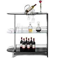 Home Bar Cabinetry COSTWAY Bar Cabinets Table with 2-Holder, Modern Liquor Display Bar Cabinet with Tempered Glass Shelves, Wine Storage… home bar cabinetry