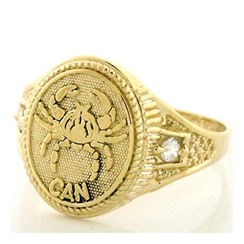 14k Solid Yellow Gold Zodiac CZ Ring - Cancer (Style# 1941) - Size 9.75 ()