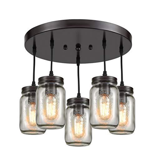 EUL Rustic Mason Jar Semi Flush Mount Ceiling Light 5-Light Pendant Lighting Fixture Oil Rubbed Bronze Review